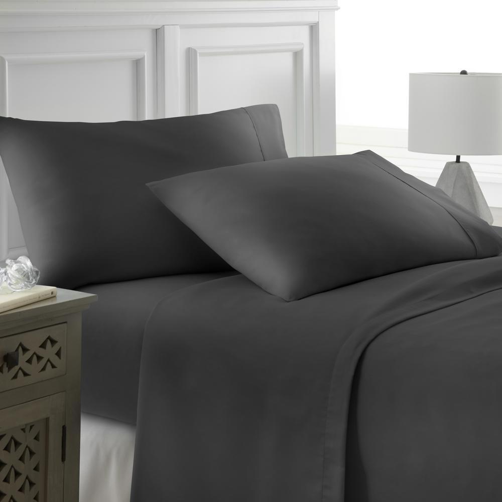 Becky Cameron Performance Black Twin XL 4-Piece Bed Sheet Set IEH-4PC-TWXL-BL