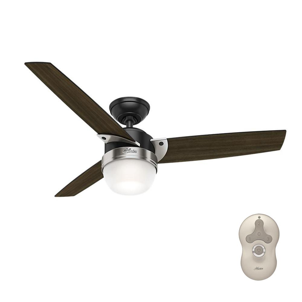 Hunter Flare 48 In Led Indoor Matte Black Ceiling Fan With Light And Universal Remote 59228