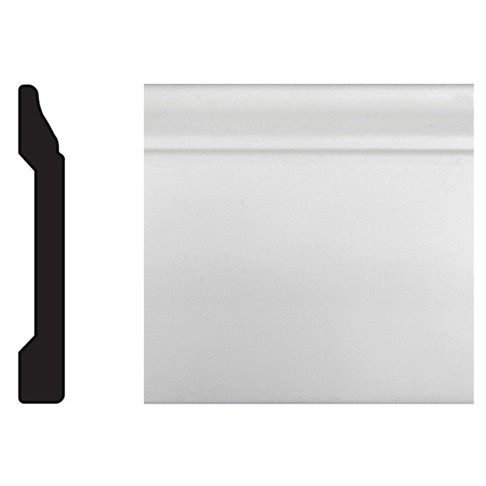 7/16 in. x 3-3/16 in. x 96 in. Polystyrene White Base Moulding