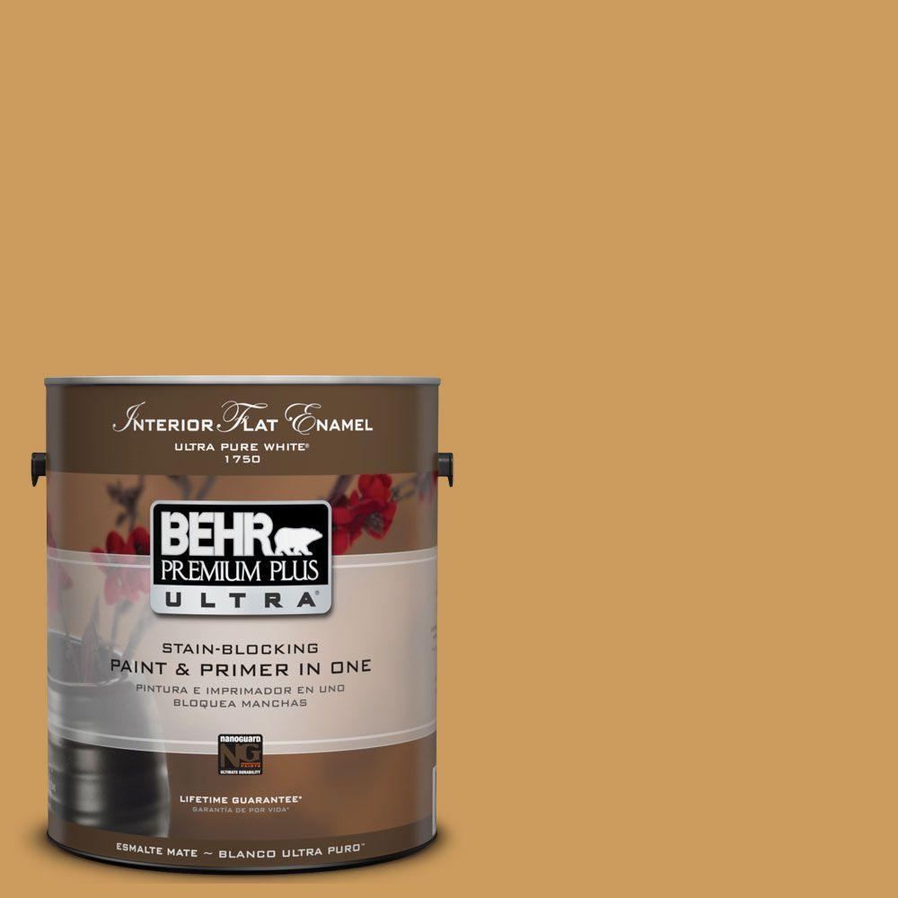 BEHR Premium Plus Ultra 1-Gal. #UL150-2 Hammered Gold Interior Flat Enamel Paint