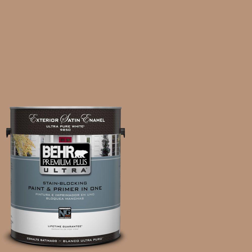 BEHR Premium Plus Ultra 1-Gal. #UL130-6 Spice Cake Satin Enamel Exterior Paint