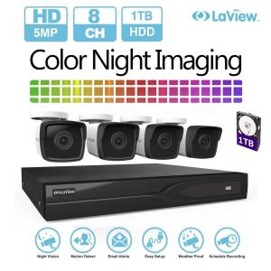 LaView 8-Channel 5MP Extreme HD TVI 1TB HDD Surveillance DVR System with Four 5MP Bullet Cameras & Color Night Imaging