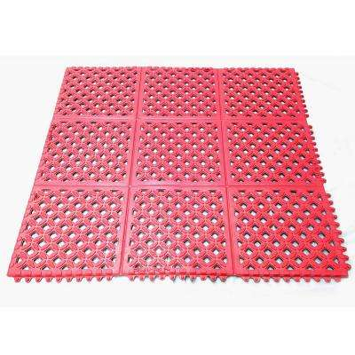 Drain-X Diamond Drain-Thru Red 3 ft. x 3 ft. x 1/2 in. Anti-Fatigue Rubber Kitchen Mat