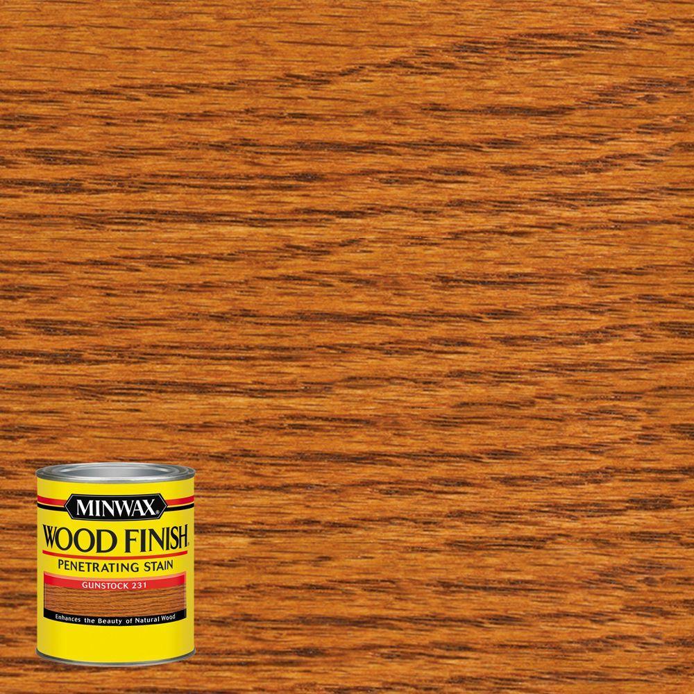 minwax 8 oz wood finish gunstock oil based interior stain 223104444 the home depot