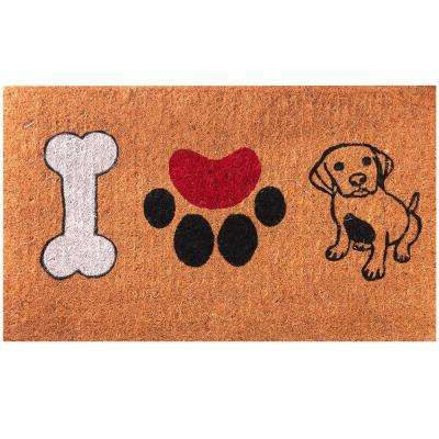 I Heart Dogs Entrance Welcome 18 in. x 30 in. Coir Door Mat