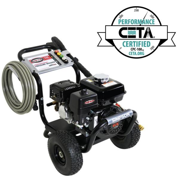 Simpson PowerShot 3300 PSI at 2.5 GPM HONDA GX200 with AAA Industrial Triplex Pump Cold Water Professional Gas Pressure Washer