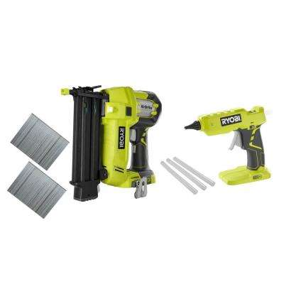 18-Volt ONE+ Cordless AirStrike 18-Gauge 2-1/8 in. Brad Nailer and 18-Volt ONE+ Hot Glue Gun 2-Tool Combo Kit