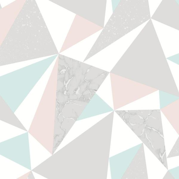Walls Republic Pink And Soft Teal Party Triangles Wallpaper R6111