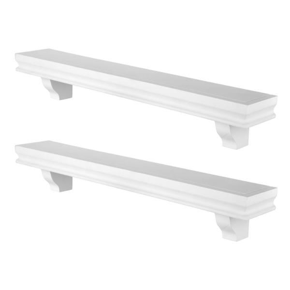 Decorative 24'' White Floating Wall Display Ledge Shelves (Set of 2)