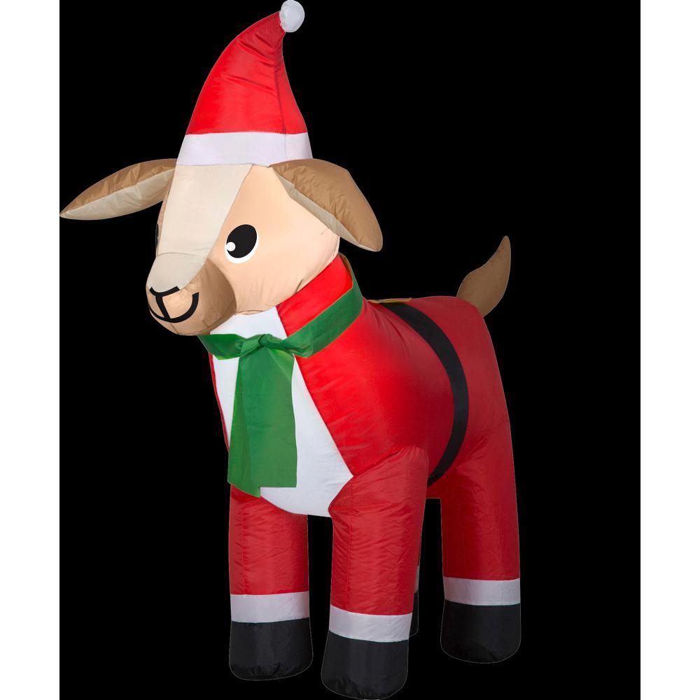 3 ft. W x 2 ft. D x 4 ft. H Airblown Inflatable Goat in Santa Suit