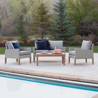 Eucalyptus 4-Piece Wicker Deep Seating Set with Grey Cushions