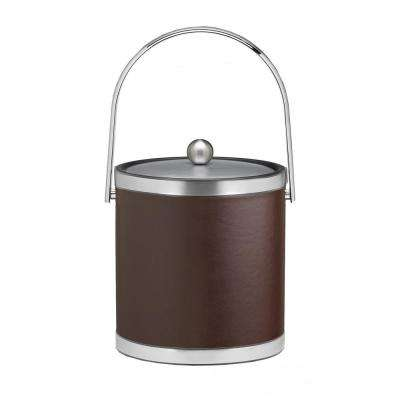 Sophisticates 3 Qt. Brown and Brushed Chrome Ice Bucket with Track Handle and Metal Cover