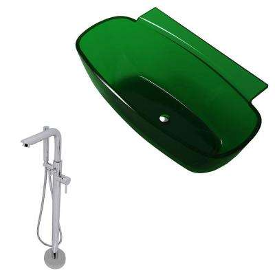Vida 62 in. Man-Made Stone Classic Flatbottom Non-Whirlpool Bathtub in Emerald Green and Sens Faucet in Chrome