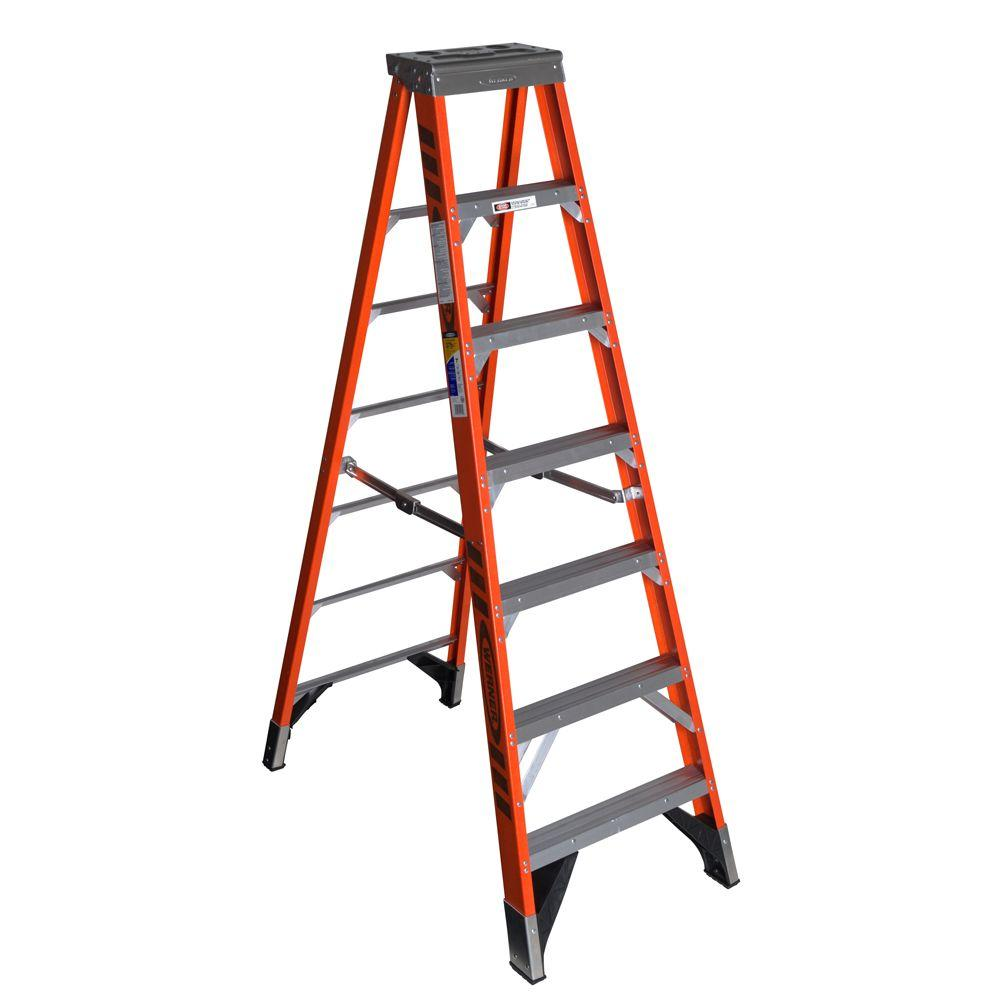 Werner 7 ft. Fiberglass Step Ladder with 375 lb. Load Capacity Type IAA Duty Rating