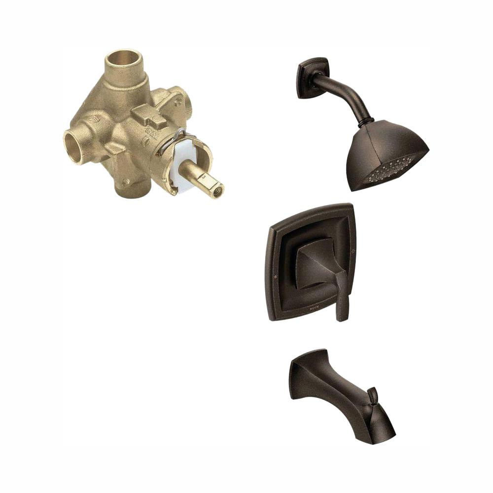 MOEN Voss Single-Handle 1-Spray PosiTemp Tub and Shower Faucet Trim Kit with Valve in Oil Rubbed Bronze (Valve Included)