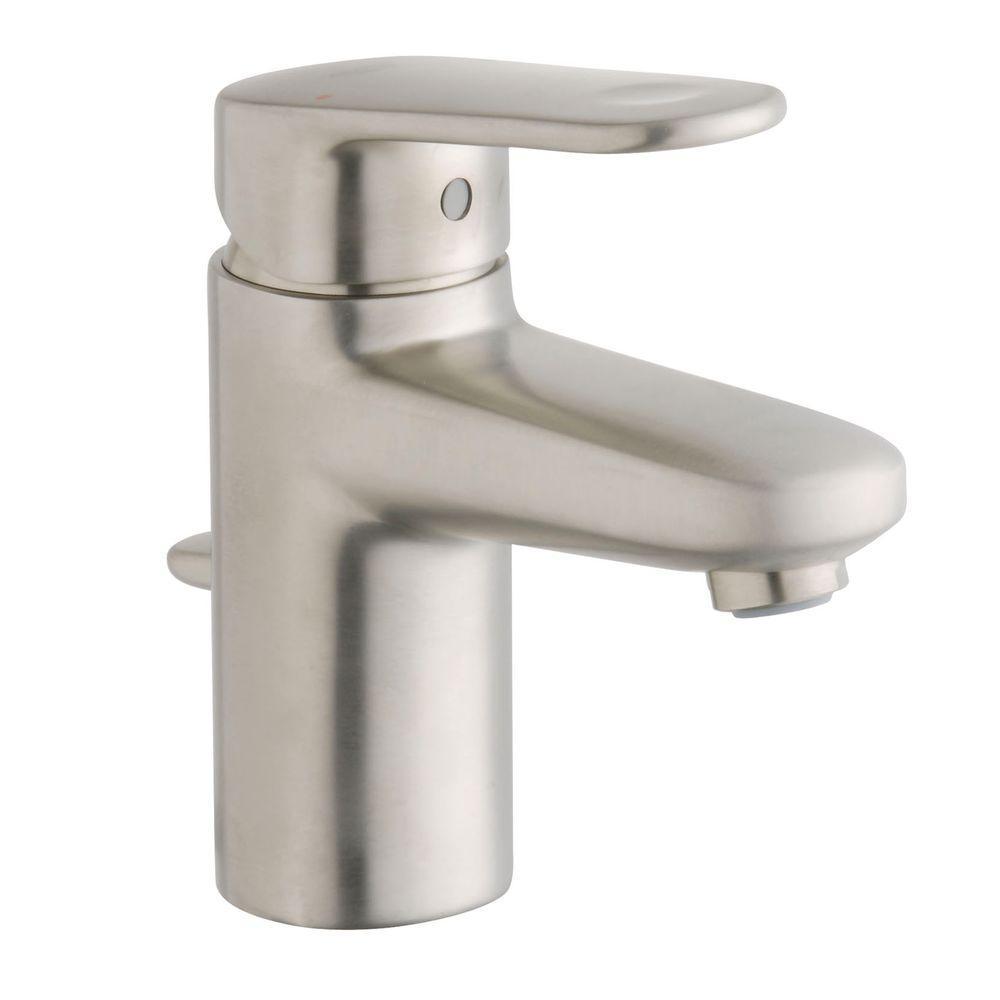 Europlus Single Hole Single Handle Low Arc Bathroom Faucet in Brushed Nickel