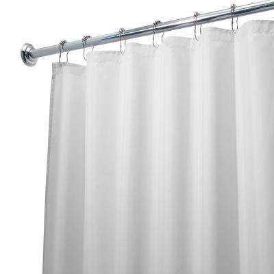 Poly Waterproof Extra-Wide Shower Curtain Liner in White