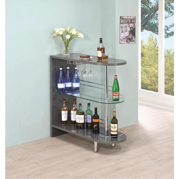 Coaster Gray Contemporary Bar Unit With Glass Shelves 101073 The
