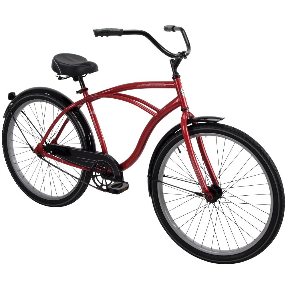 """Huffy 26/"""" Cruiser Perfect Fit Frame Men/'s Bike Beach Bicycle Black Red Tire Men"""