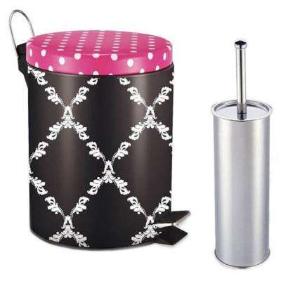 Trellis 1 Gal. Aluminum Round Step-on Trash Can with Toilet Brush
