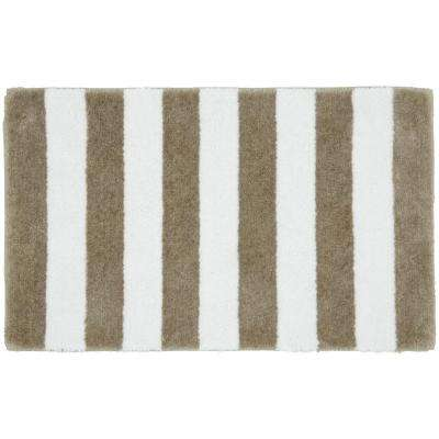 Beach Stripe Tan/White 21 in. x 34 in. Bath Rug