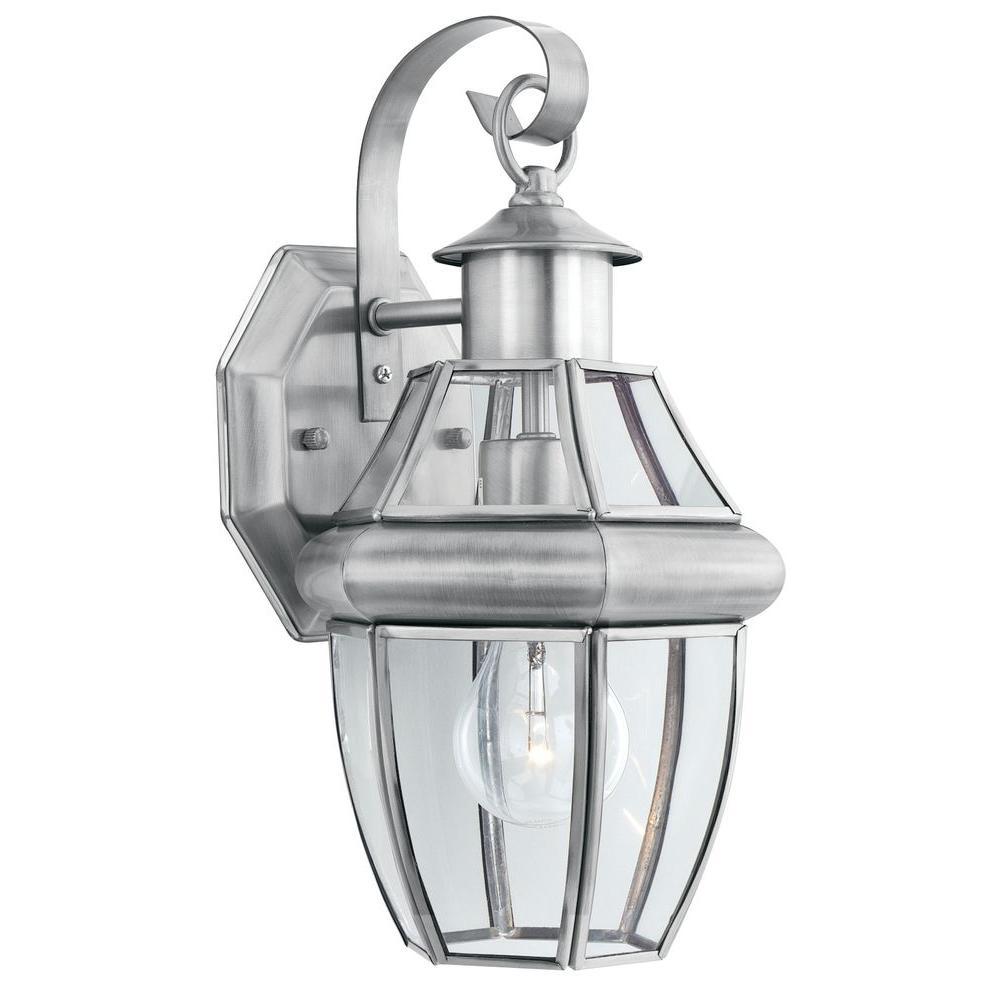 Heritage 1-Light Brushed Nickel Outdoor Wall-Mount Lantern