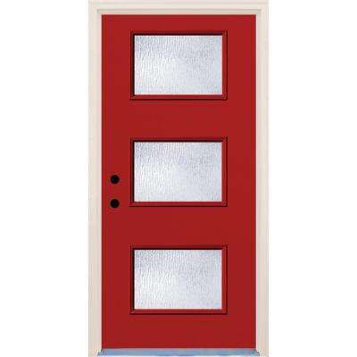 36 in. x 80 in. Right-Hand Engine 3 Lite Rain Glass Painted Fiberglass Prehung Front Door with Brickmould