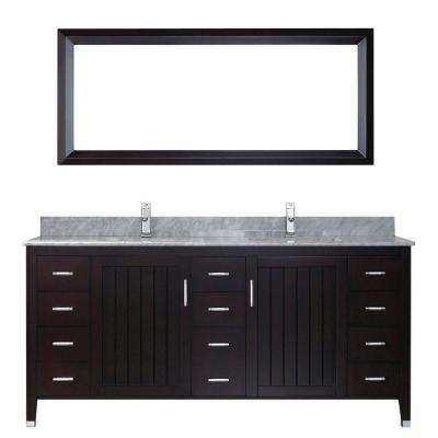 Jackie 72 in. Vanity in Chai with Marble Vanity Top in Carrara White and Mirror