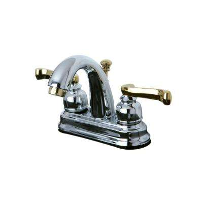 French Scroll 4 in. Centerset 2-Handle Mid-Arc Bathroom Faucet in Polished Brass and Chrome