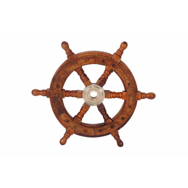 Traditional Style Brown Sheesham Wood and Brass Ship Wheel