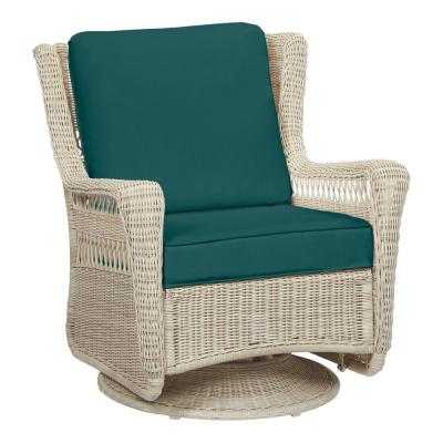 Park Meadows Off-White Wicker Outdoor Patio Swivel Rocking Lounge Chair with CushionGuard Malachite Green Cushions