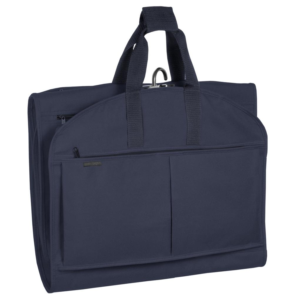 4532b04bed WallyBags 52 in. Navy GarmenTote Tri-Fold Garment Bag with Pockets ...