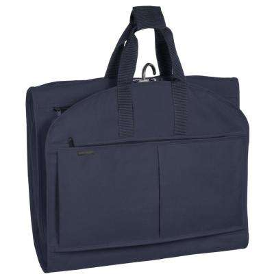52 in. Navy GarmenTote Tri-Fold Garment Bag with Pockets