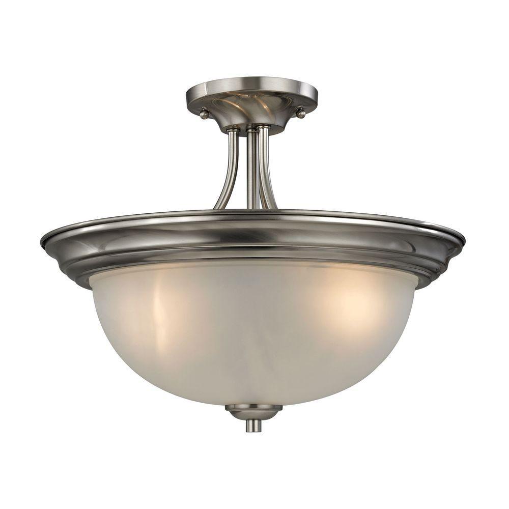 Titan Lighting Bristol Lane 3-Light Brushed Nickel Semi