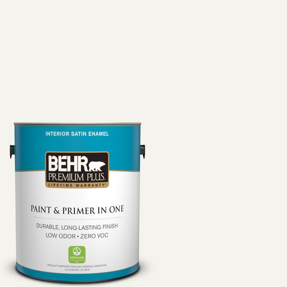 BEHR Premium Plus 1-gal. #PWN-10 Decorator White Zero VOC Satin Enamel Interior Paint