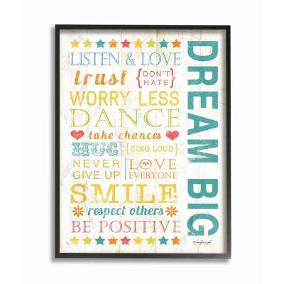 "11 in. x 14 in. ""Dream Big Typography"" by Jennifer Pugh Wood Framed Wall Art"