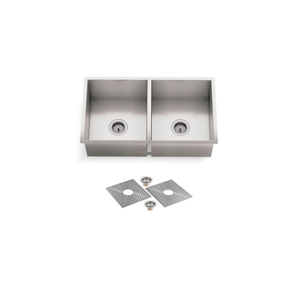 Ludington Undermount Stainless Steel 32 in. 50/50 Double Bowl Kitchen Sink Kit