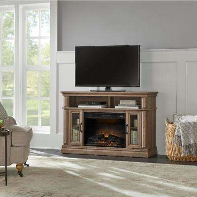 Flint Mill 48 in. Media Console Electric Fireplace in Prairie Ash Finish