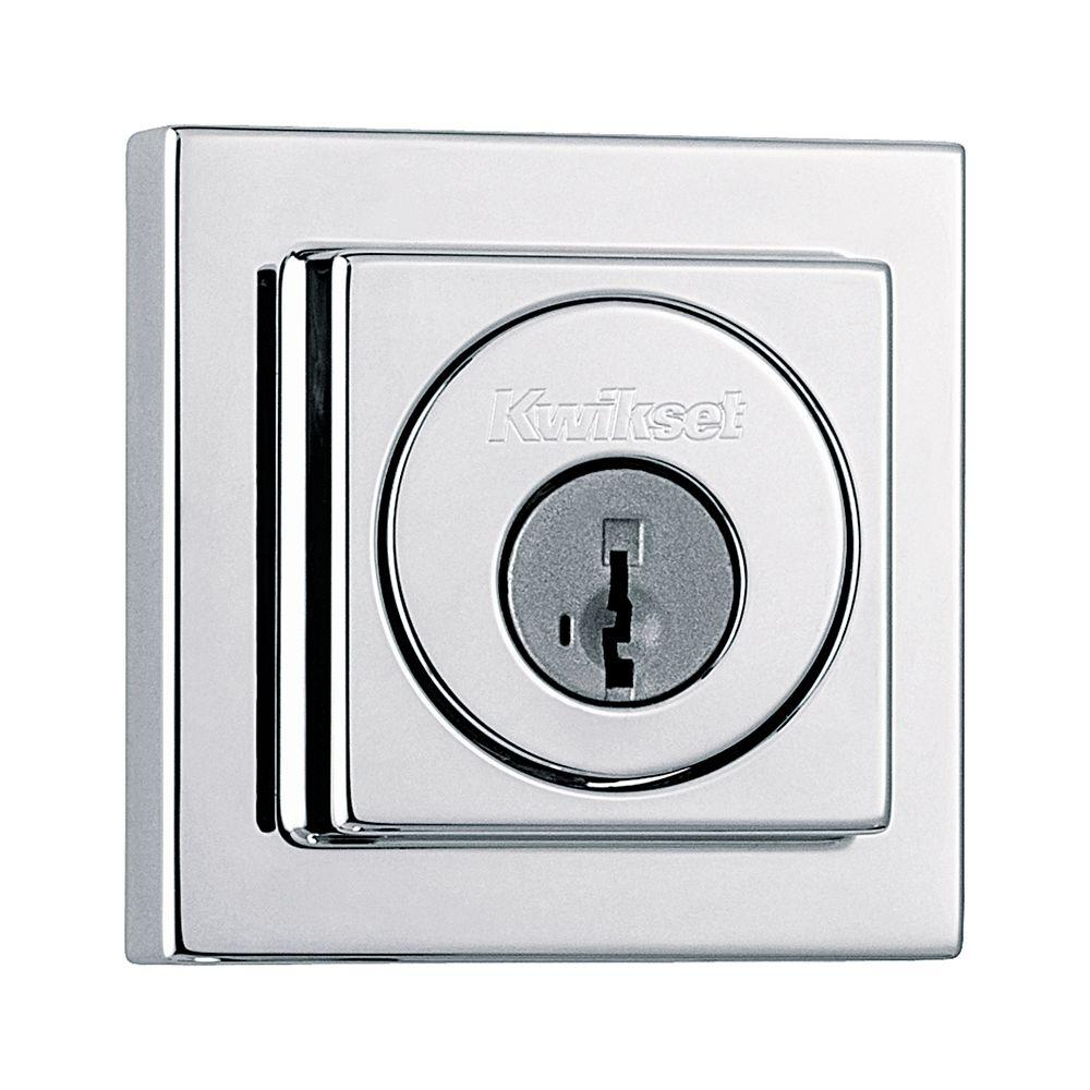 Kwikset 993 Series Square Contemporary Single Cylinder Polished Chrome Deadbolt Featuring SmartKey