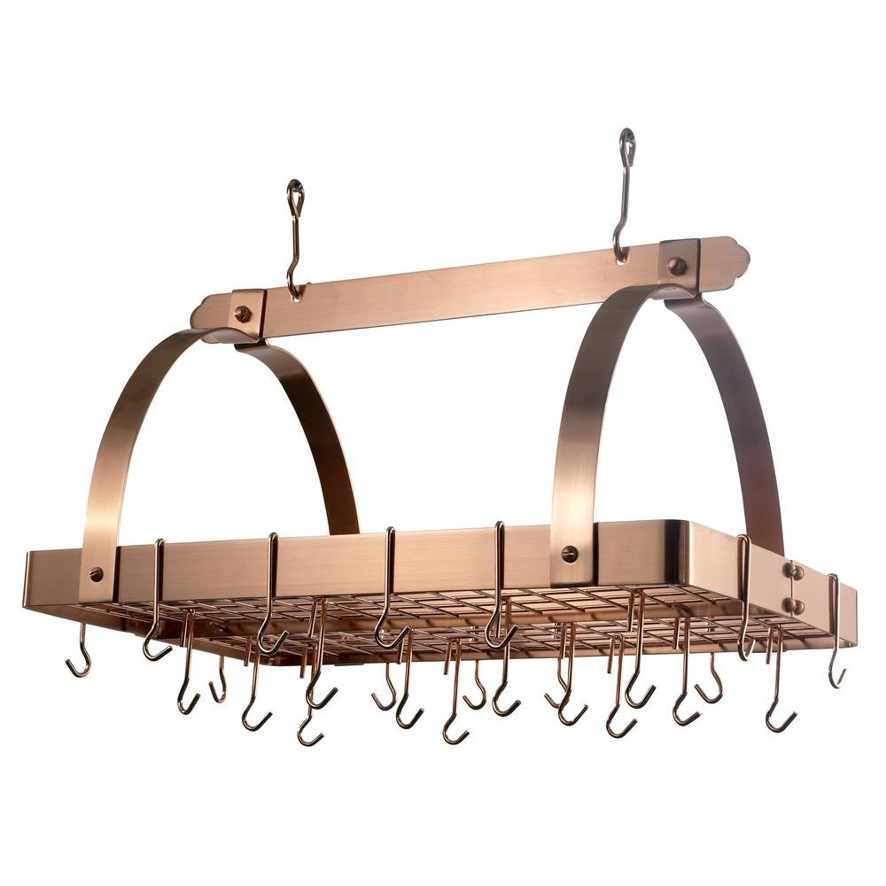 Old Dutch 30 in. x 20.5 in. x 15.75 in. Satin Copper Pot Rack with Grid and 24 Hooks