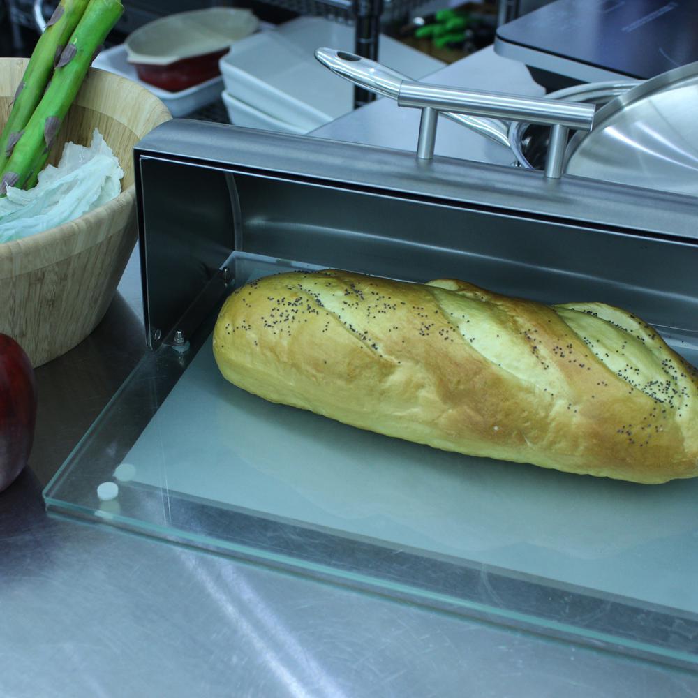 Studio Glass Base Stainless Steel Bread Bin
