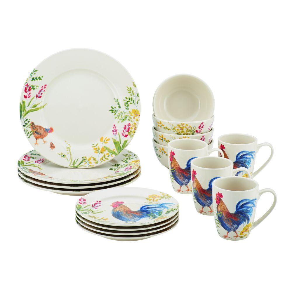 Dinnerware Garden Rooster 16-Piece Stoneware Dinnerware Set