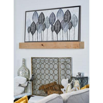 """Black and White Veined Leaves"" Hand Painted Framed Canvas Wall Art"