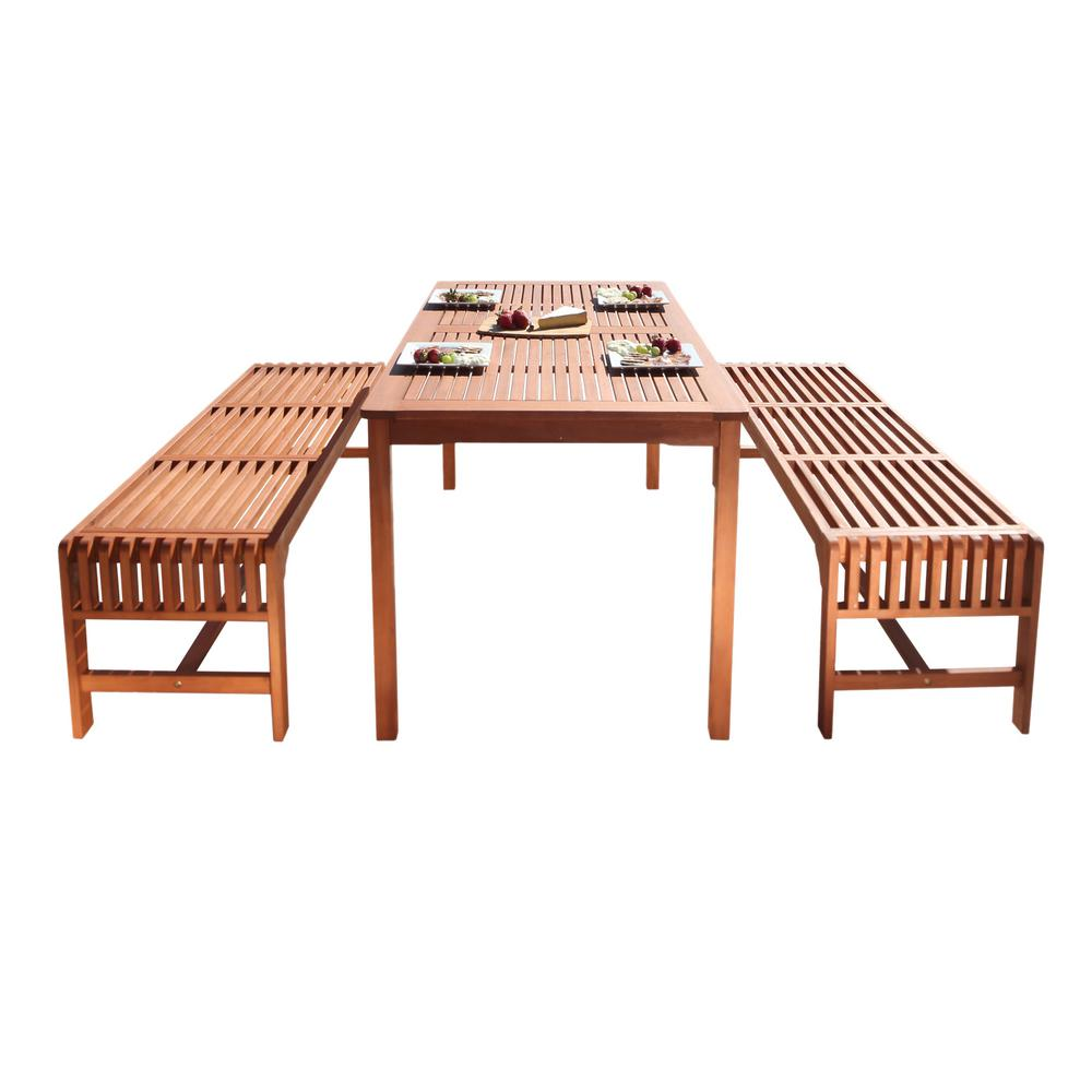 Vifah Malibu 3-Piece Wood Rectangle Outdoor Dining Set  sc 1 st  Home Depot & Vifah Malibu 3-Piece Wood Rectangle Outdoor Dining Set-V98SET5 - The ...