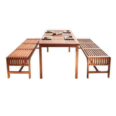 Malibu 3-Piece Wood Rectangle Outdoor Dining Set