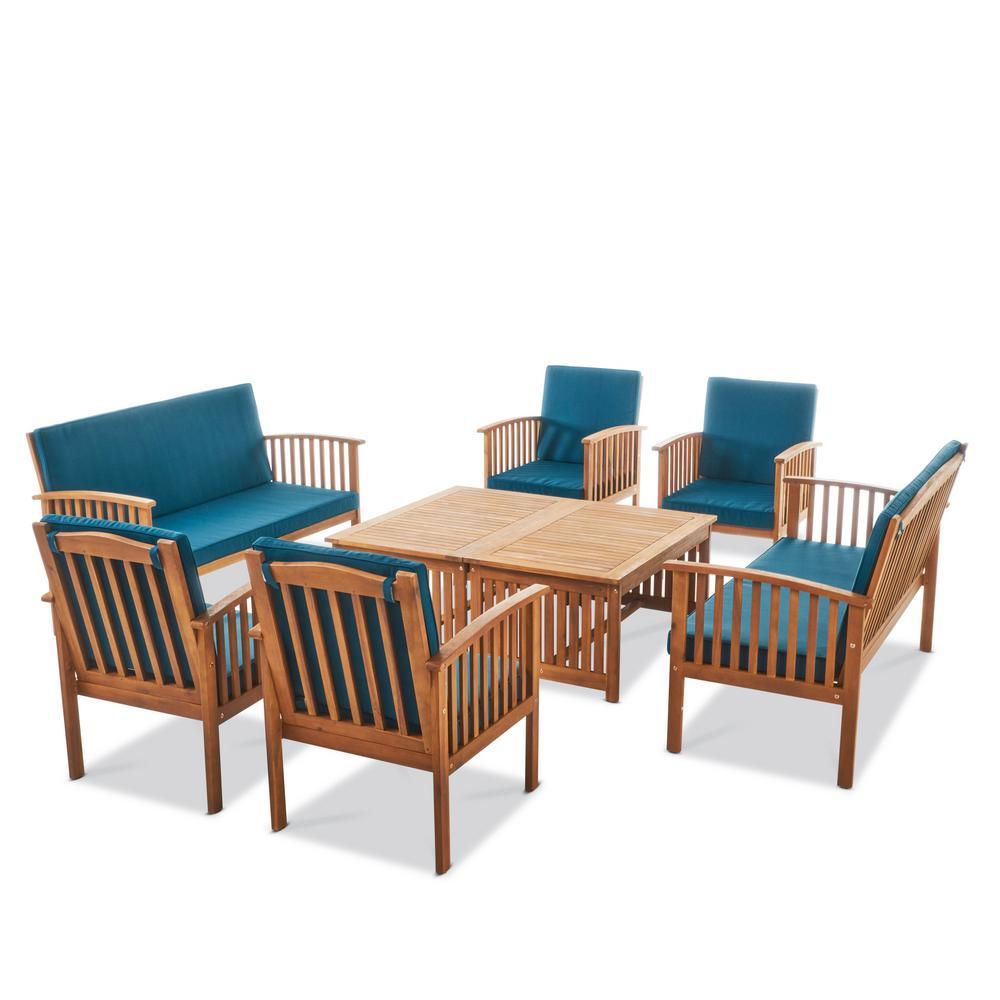 Thalia Brown 8-Piece Wood Patio Conversation Set with Dark Teal Cushions