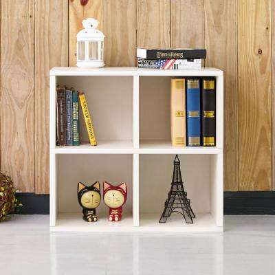 Quad 4-Cubby White Eco zBoard Stackable Tool-Free Assembly Bookcase and Storage Shelf Organizer