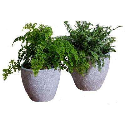 Xbrand 14 in. Tall and 12 in. Tall Grey Modern Nested Round Flower Clay Pot Planter (Set of 2 Different Sizes)