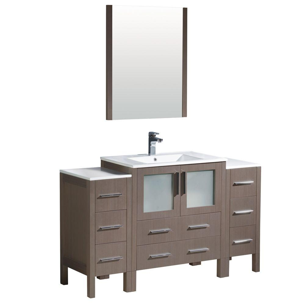 Torino 54 in. Vanity in Gray Oak with Ceramic Vanity Top