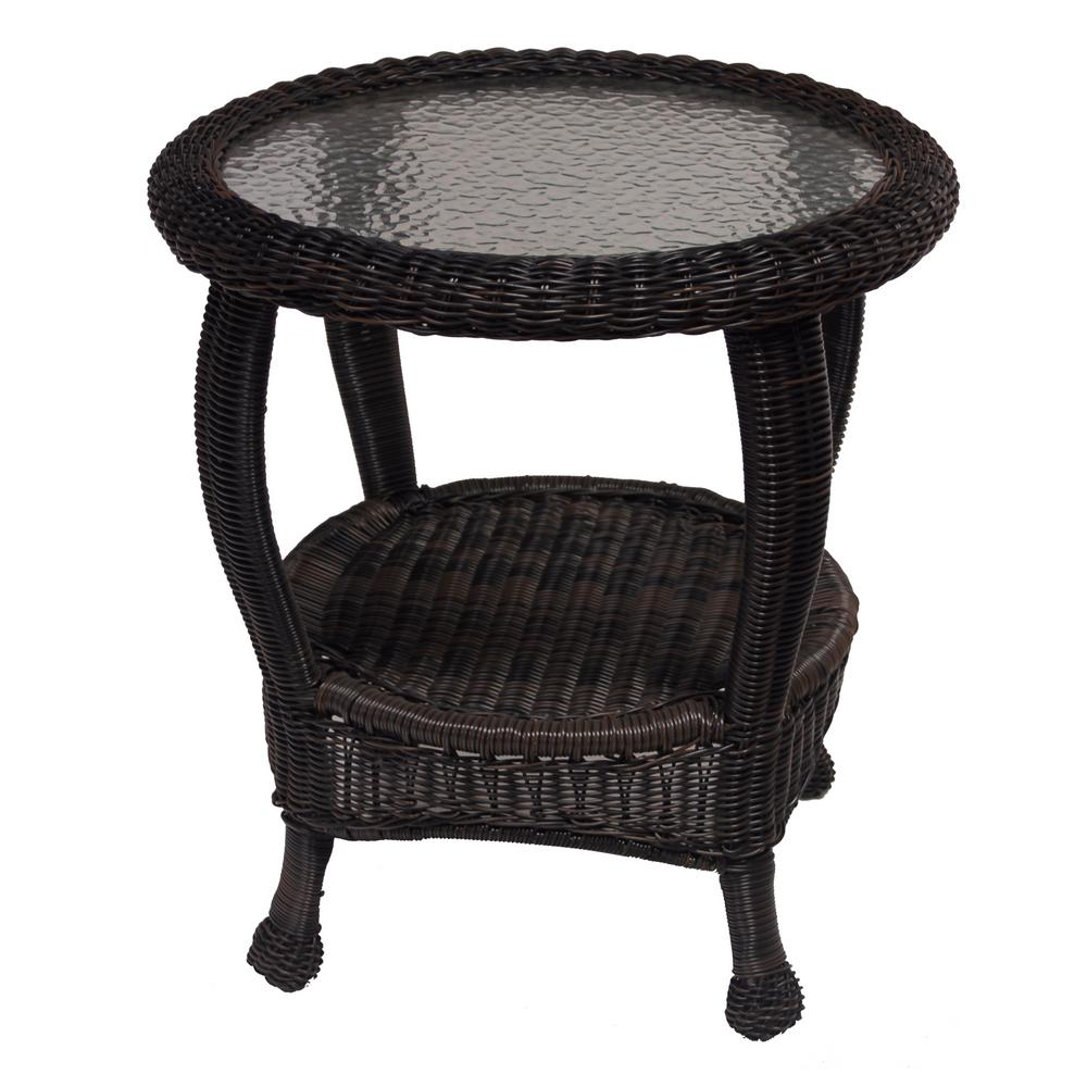 Black Wicker Patio Side Table
